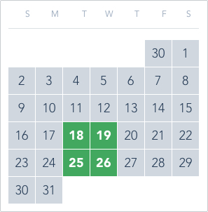 1-Day Tier 2 Ticket calendar good to go: May 18 to 19, May 25 to 26