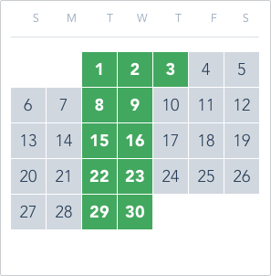 1-Day Tier 4 Ticket calendar good to go: June 1 to 3, June 8 to 9, June 15 to 16, June 22 to 23, June 29 to 30
