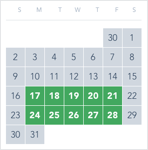 1-Day Tier 4 Ticket calendar good to go: May 17 to 21, May 24 to 28