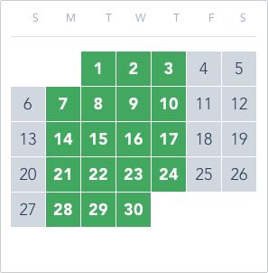 1-Day Tier 4 Ticket calendar good to go: June 1 to 3, June 7 to 10, June 14 to 17, June 21 to 24, June 28 to 30