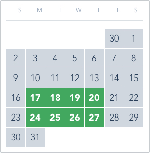 1-Day Tier 4 Ticket calendar good to go: May 17 to 20, May 24 to 27